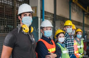 contractors wearing face masks