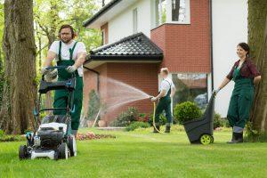 lanadscaper mowing lawn
