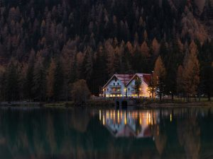 waterfront home at night