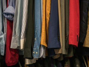 clothes haning in closet