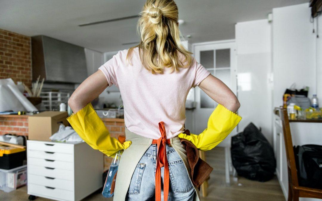 woman looking at mess